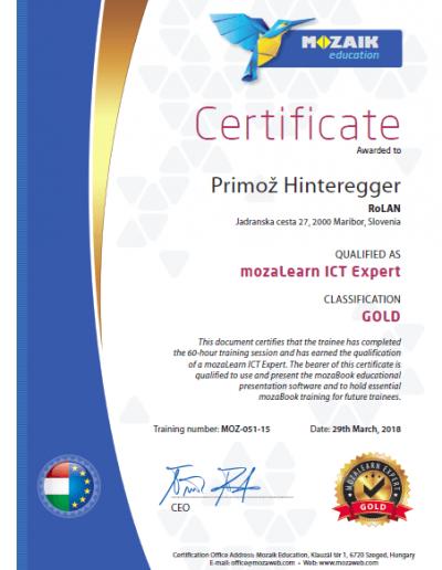 mozaBook_Certificate_Primoz_Hinteregger